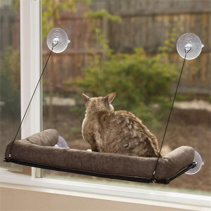 K&H EZ Mount Kitty Sill Window Mount Hammock Bed with Bolster for Cats