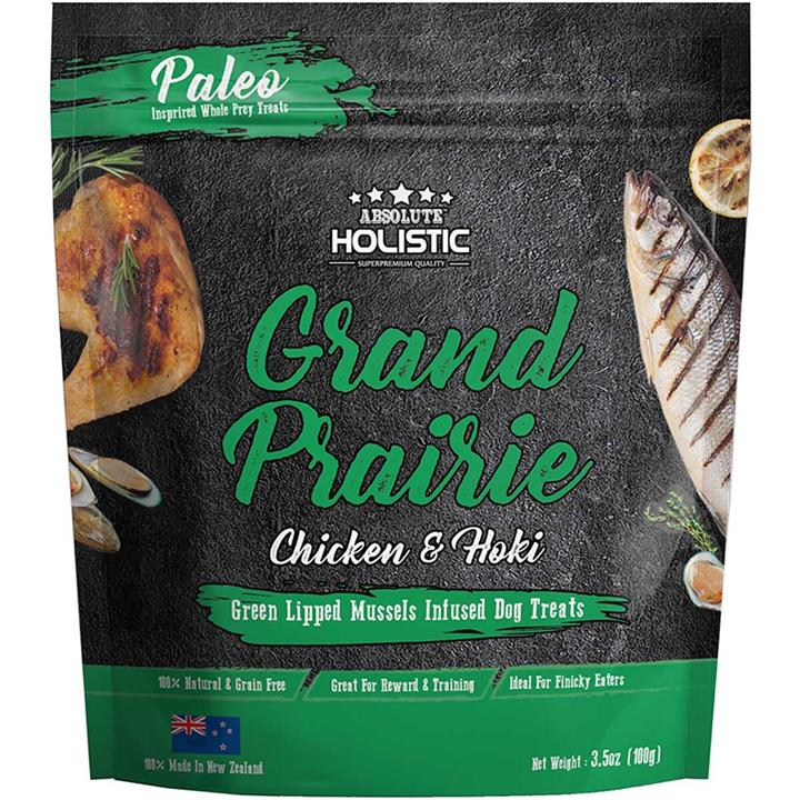 Absolute Holistic Air Dried Dog Treats Grand Prairie Chicken & Hoki 100gm