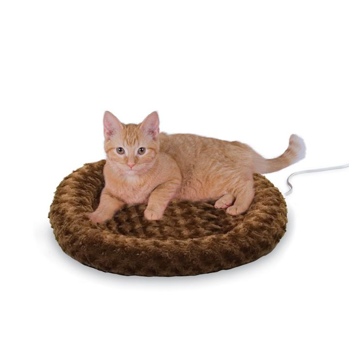 K&H Thermo Heated Indoor Pet Bed Round Plush Chocolate