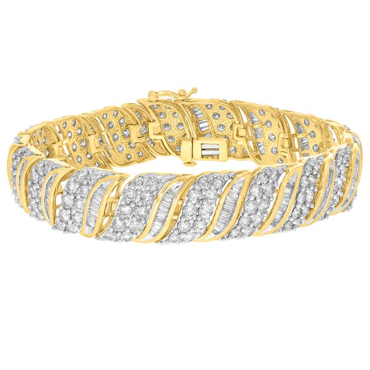 Image of 9ct Yellow Gold 10.6 Carat Diamond 18.5cm Bracelet with Brilliants and Baguettes