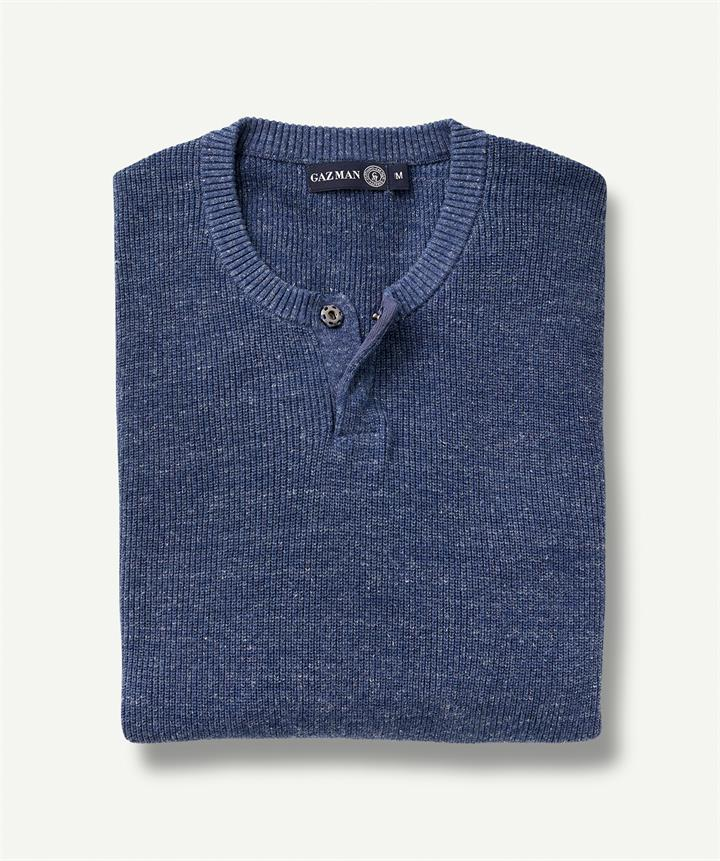 RIBBED HENLEY Blue Marle M