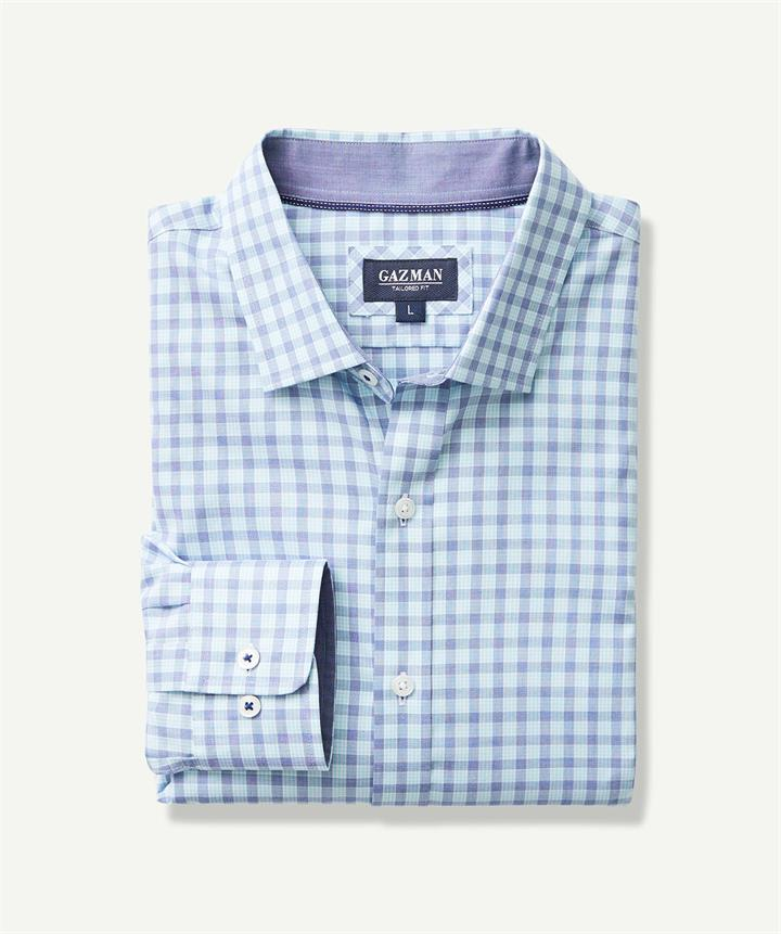 TAILORED EASY CARE TWILL CHECK Mint M
