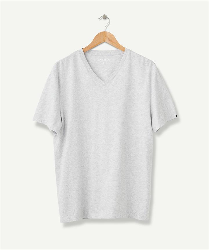 BASIC V-NECK TEE Light Grey XL