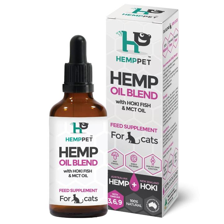 HempPet Hemp Oil Blend with Hoki Fish & MCT Oil Feed Supplement for Cats 100ml