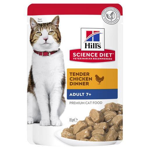 Hills Science Diet Adult Cat Food 7+ Chicken Pouches 12x85g