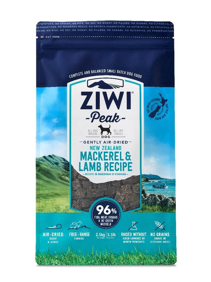 ZiwiPeak Air Dried Dog Food Mackerel & Lamb 2.5kg