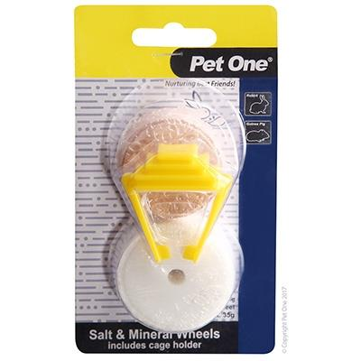 Pet One Small Animal Salt Lick And Mineral Wheel With Holder