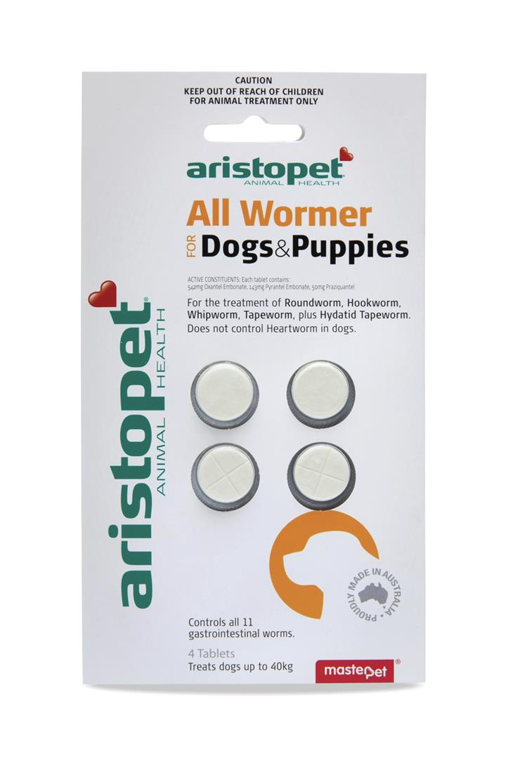 Aristopet Allwormer Tablets for Small Dogs & Puppies Pack of 4