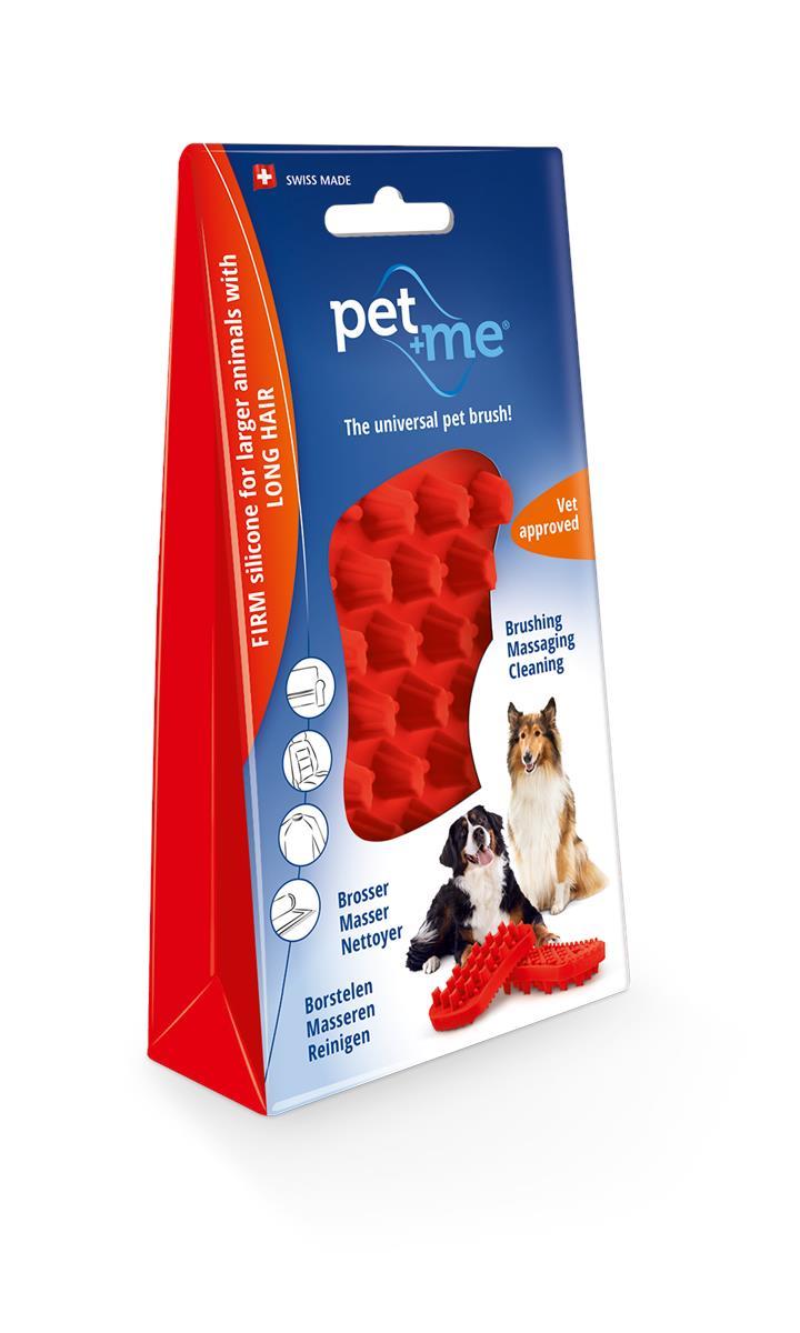 Pet & Me Silicone Brush Medium Large Long Hair Dog Red