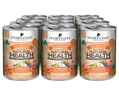 Ivory Coat Adult Chicken & Coconut Stew Canned Dog Food 12x400g