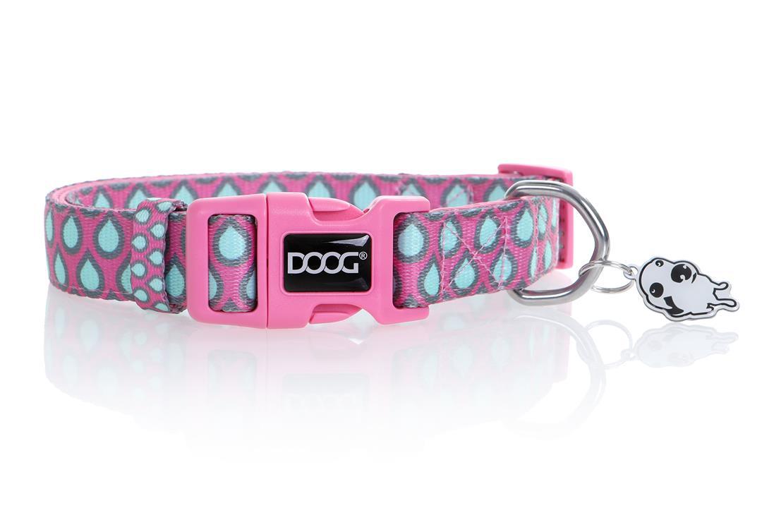 Doog Luna Dog Collar Pink with Tear Dops Medium