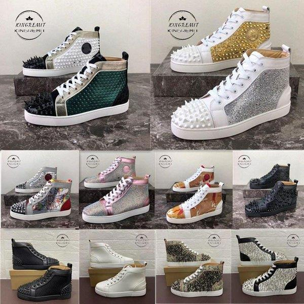2020 Men Women Casual Shoes Red Bottom Studded Spikes Fashion Platform Insider Sneakers Black Red White Silver Leather High Boots Size34-48