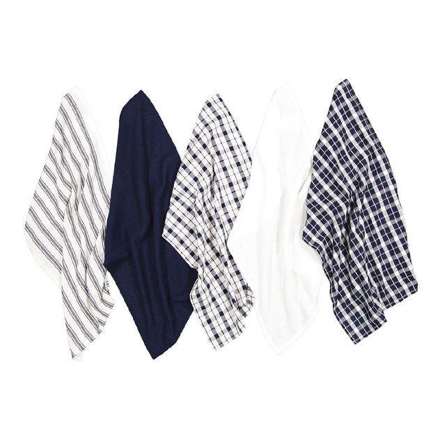 Image of Living & Co Co Tea Towel Mix Set 5 Pack Navy 40cm x 65cm