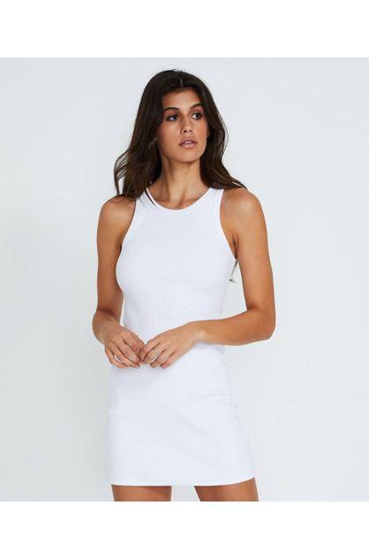 Image of General Pants Women's Co. Basics Fitted Rib Dress White