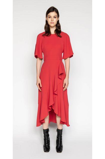 Image of Cue Women's Crepe Asymmetric Frill Dress