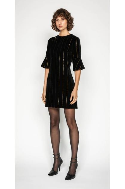 Image of Cue Women's Gold Stripe Velvet Shift Dress