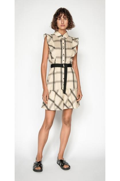 Image of Cue Women's Frilled Sleeve Shirt Dress