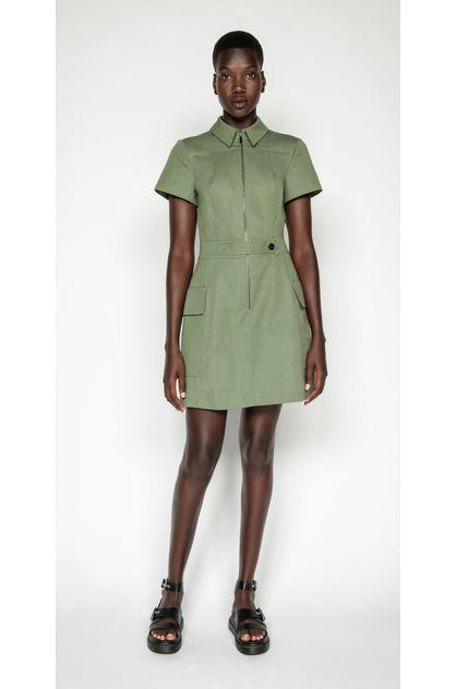 Image of Cue Women's Cotton Linen Twill Utility Dress