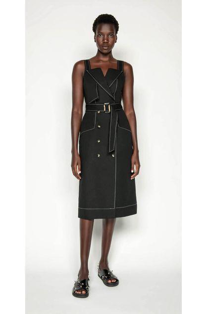Image of Cue Women's Cotton Linen Twill Midi Dress
