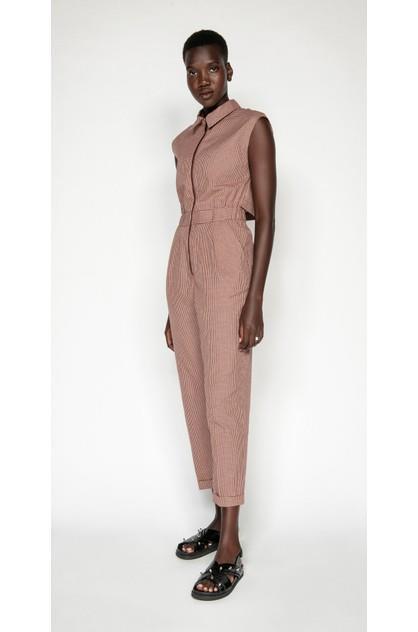 Image of Cue Women's Cotton Linen Mini Check Jumpsuit