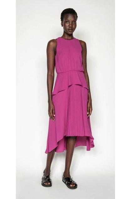 Image of Cue Women's Fuschia Pleated Midi Dress