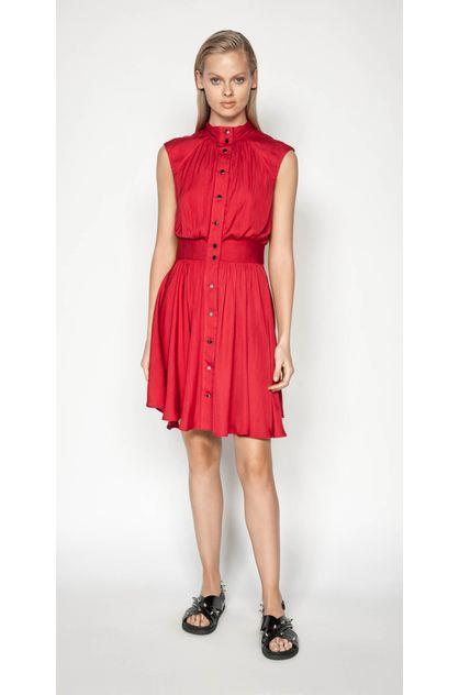 Image of Cue Women's Satin Button Front Dress