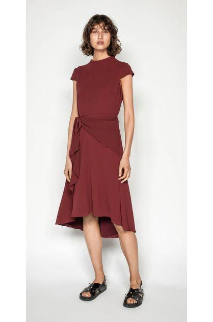 Image of Cue Women's Asymmetric Frill Midi Dress