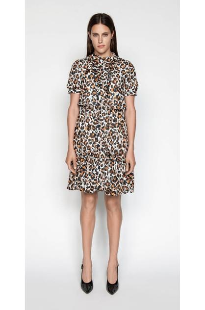Image of Cue Women's Ikat Leopard Ruffle Dress