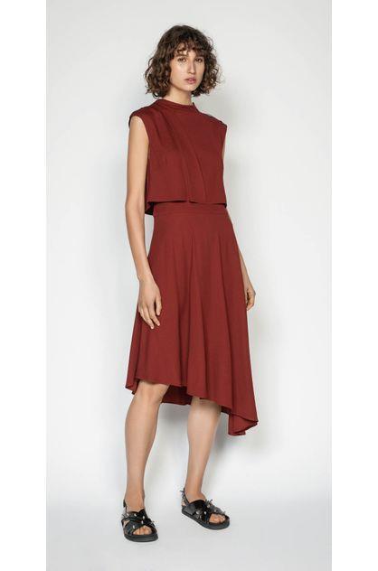 Image of Cue Women's Twill Asymmetric Hem Midi Dress