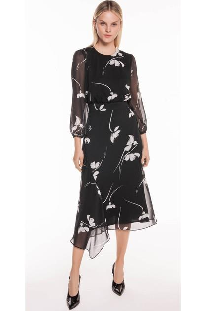 Image of Cue Women's Monochrome Poppy Midi Dress