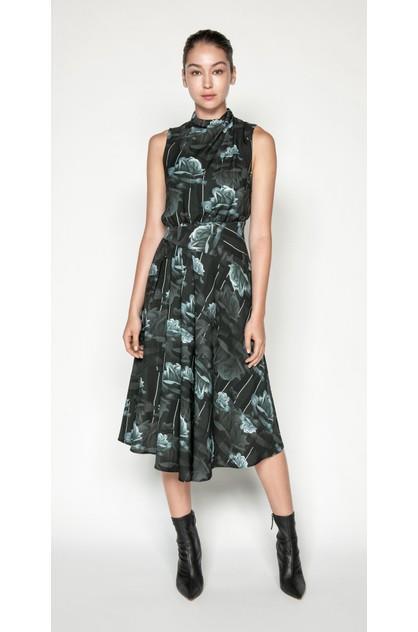 Image of Cue Women's Rose Asymmetric Midi Dress