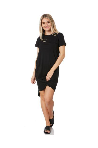 Image of Silent Theory Women's Twisted Tee Dress Crew Neck Short Sleeve Cotton Viscose