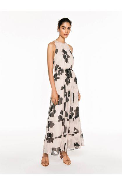 Image of Veronika Maine Women's Sheer Shadow Floral Tiered Dress