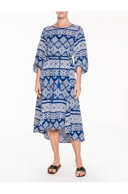 Image of Veronika Maine Women's Embroidered Stripe Midi Dress