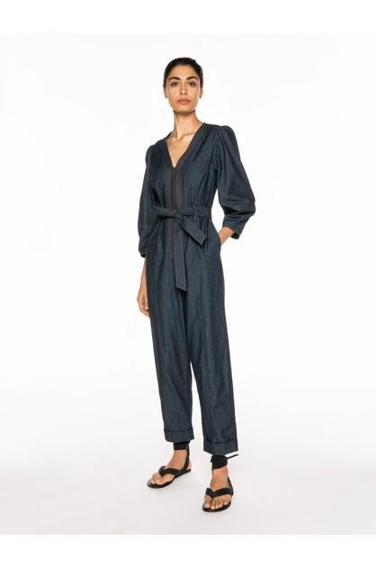 Image of Veronika Maine Women's Soft Denim Belted Jumpsuit