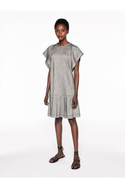 Image of Veronika Maine Women's Linen Twill Pleated Hem Dress