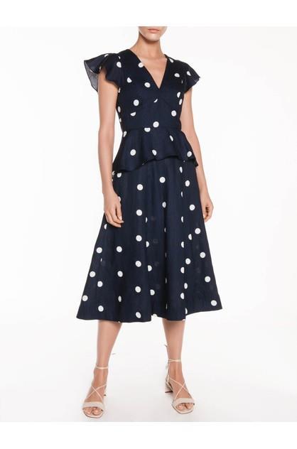 Image of Veronika Maine Women's Linen Spot Peplum Dress