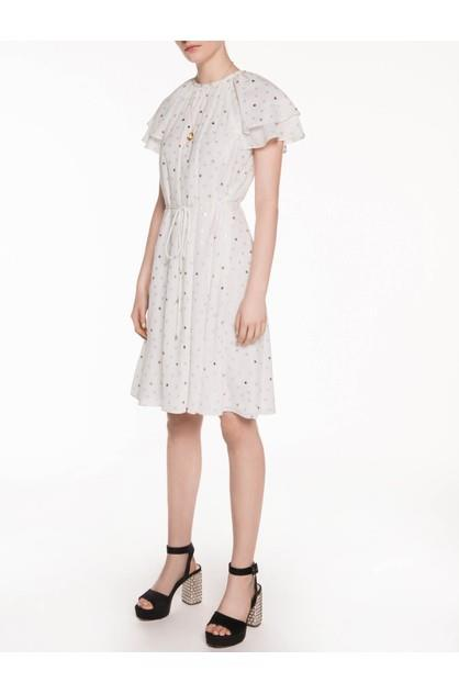 Image of Veronika Maine Women's Foil Spot Ruffle Dress