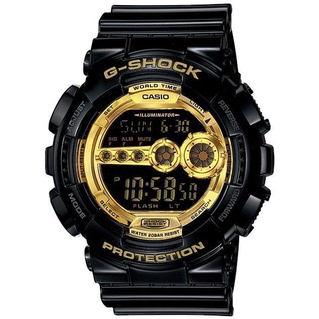 Image of G-Shock Casio Digital Mens Black X Gold Series Watch GD100GB-1 GD-100GB-1DR