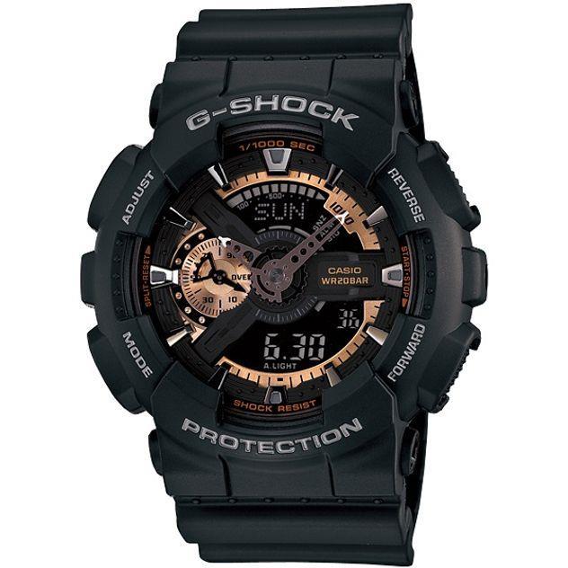Image of G-Shock Casio Analogue/Digital Mens Black/Rose Gold Watch GA-110RG-1A
