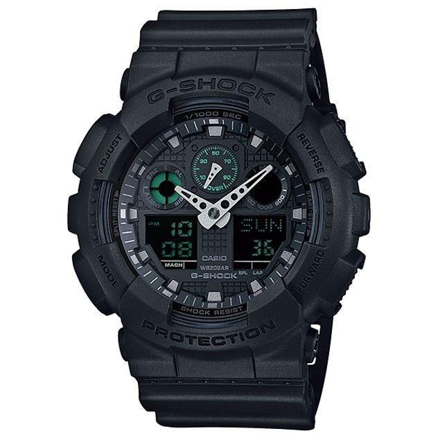 Image of G-Shock Casio Analogue/Digital Mens Black Big Case Military Watch GA-100MB-1A