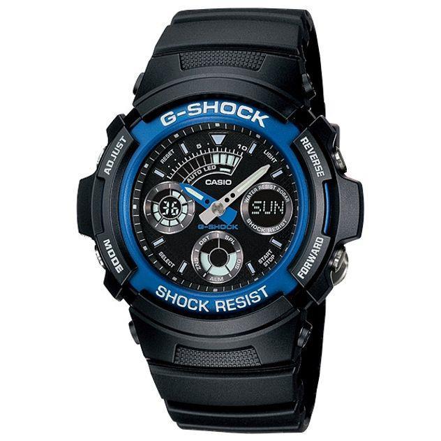 Image of G-Shock Casio Analogue/Digital Mens Black Watch AW-591-2ADR
