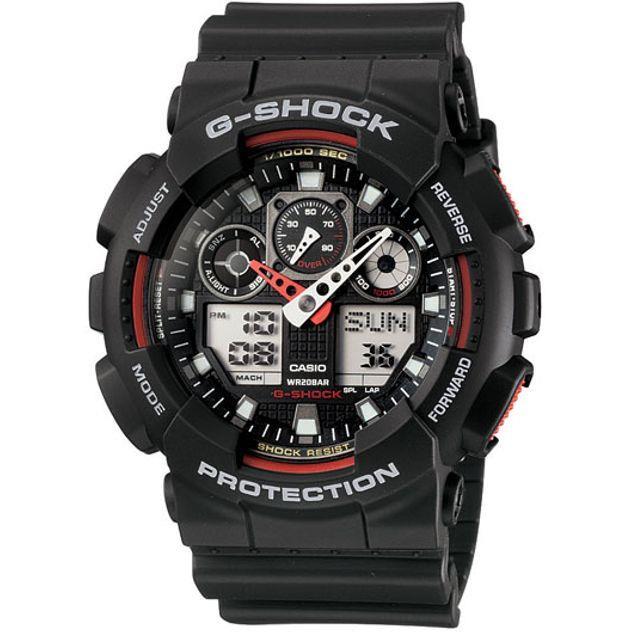 Image of G-Shock Casio Analogue/Digital Mens Black XL-Series Watch GA-100-1A4DR
