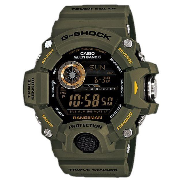 Image of G-Shock Casio Rangeman Digital Mens Green Military Watch GW-9400-3 GW-9400-3DR