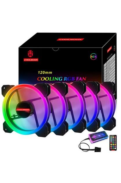 Image of Salelink 5 Pack RGB LED Quiet Computer Case PC Cooling Fan 120mm with 1 Remote Control