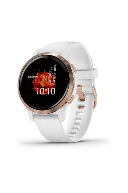 Image of Garmin Venu 2S Rose Gold Stainless Steel Bezel with White Case and Silicone Band