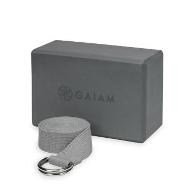 Image of Gaiam Yoga Block & Strap Combo Grey