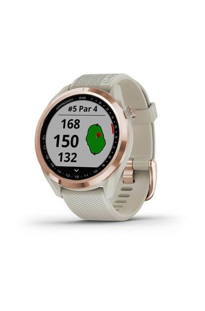 Image of Garmin Approach S42 Golf Watch Rose Gold with Light Sand Band
