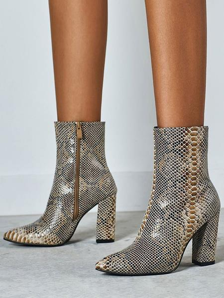 Milanoo Women Ankle Boots Python Pointed Toe Snake Print Chunky Heel Leather Booties