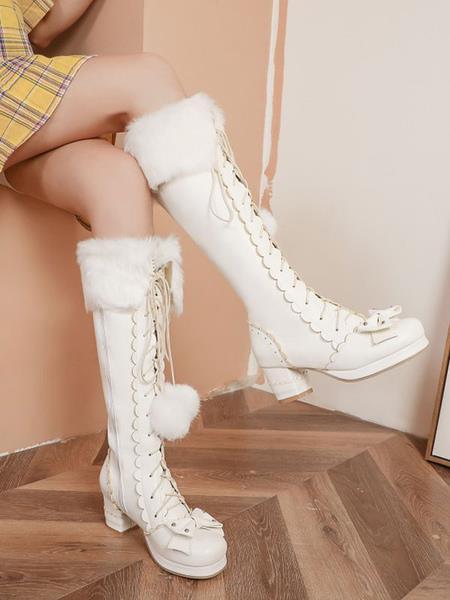 Milanoo Sweet Lolita Boots Bow Pom Poms Faux Fur Lace Up Lolita Footwear